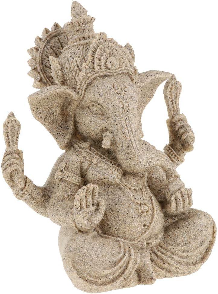 Beige FLAMEER Ornement de Ganesh Assis Figurine Hindoue en Ganesh Maison Bureau D/écor 10cm