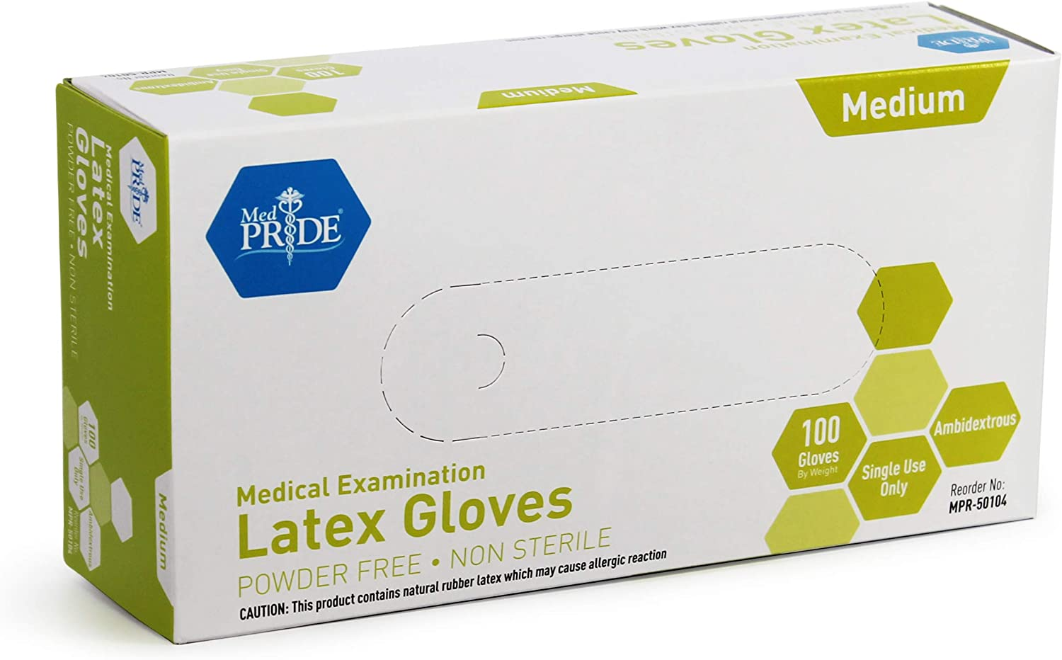 Medpride Medical Exam Latex Gloves| 5 mil Thick, Medium Box of 100| Powder-Free, Non-Sterile, Heavy Duty Exam Gloves| Professional Grade for Hospitals, Law Enforcement, Food Vendors, Tattoo Artists
