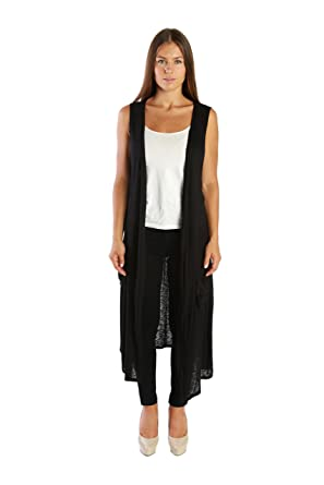 Nelly Aura Open Duster Sleeveless Long Cardigan Vest w/ Pockets ...