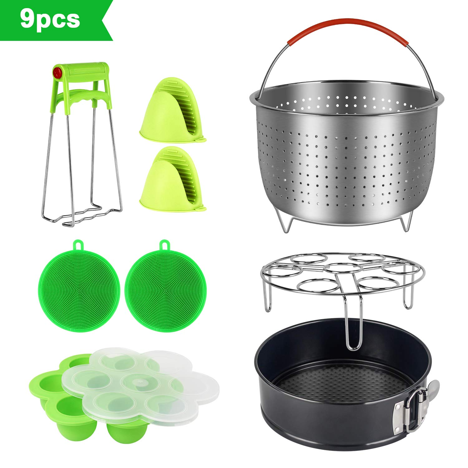 9 Piece Accessories Kits for Instant Pot 6, 8 Qt - With Large Stainless Steel Steamer Basket, Non-Stick Springform Pan, Egg Rack, Egg Bites Mold, Oven Mitts, Bowl Clip and Silicone Scrub Pad SySrion