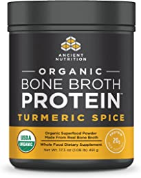 Ancient Nutrition Organic Bone Broth Protein Powder, Turmeric Spice Flavor, 17 Servings Size - Organic, Gut-Friendly, Paleo-Friendly