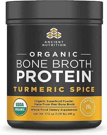 Ancient Nutrition Organic Bone Broth Protein Powder, Tumeric Spice Flavor, 17 Servings Size - Organic, Gut-Friendly, Paleo-Friendly