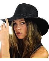 NYFASHION101 Teardrop Dent Braided Trim Casual Panama Fedora Sun Hat
