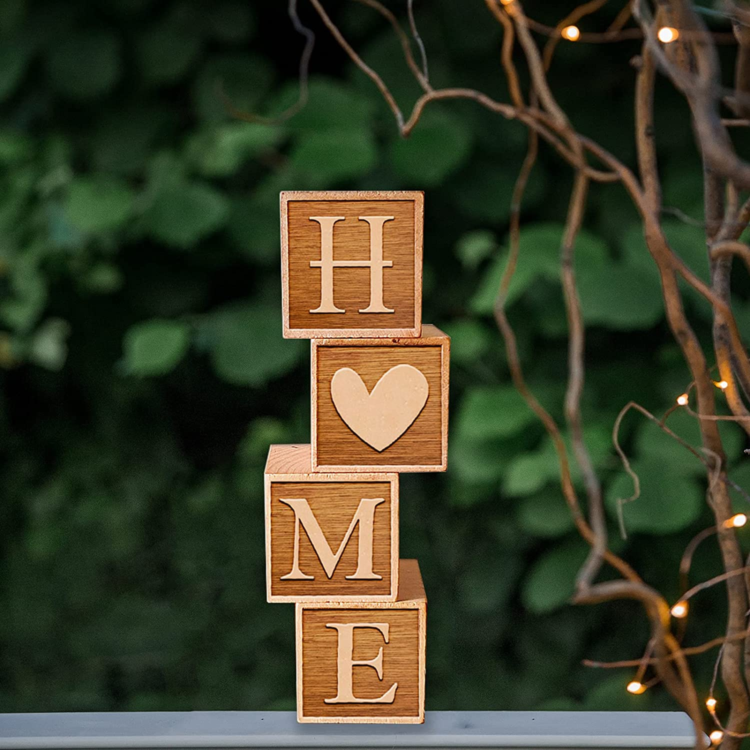 Home Block Letter Sign Set Farmhouse Home Décor Wooden Tabletop Centerpieces Solid Wood Housewarming Gift