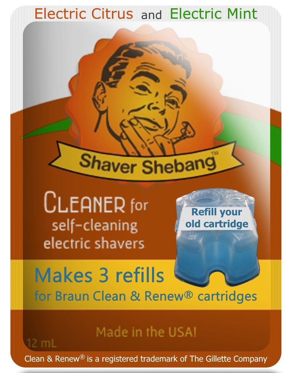18 Refills for Braun Cartridges - Citrus & Mint - 6 Shaver Shebang™ cleaner solution replacements for Clean & Renew® Organek Living