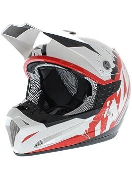 Casco Mx Lazer Smx Whip Blanco-Negro-Rojo (Xl , Blanco)