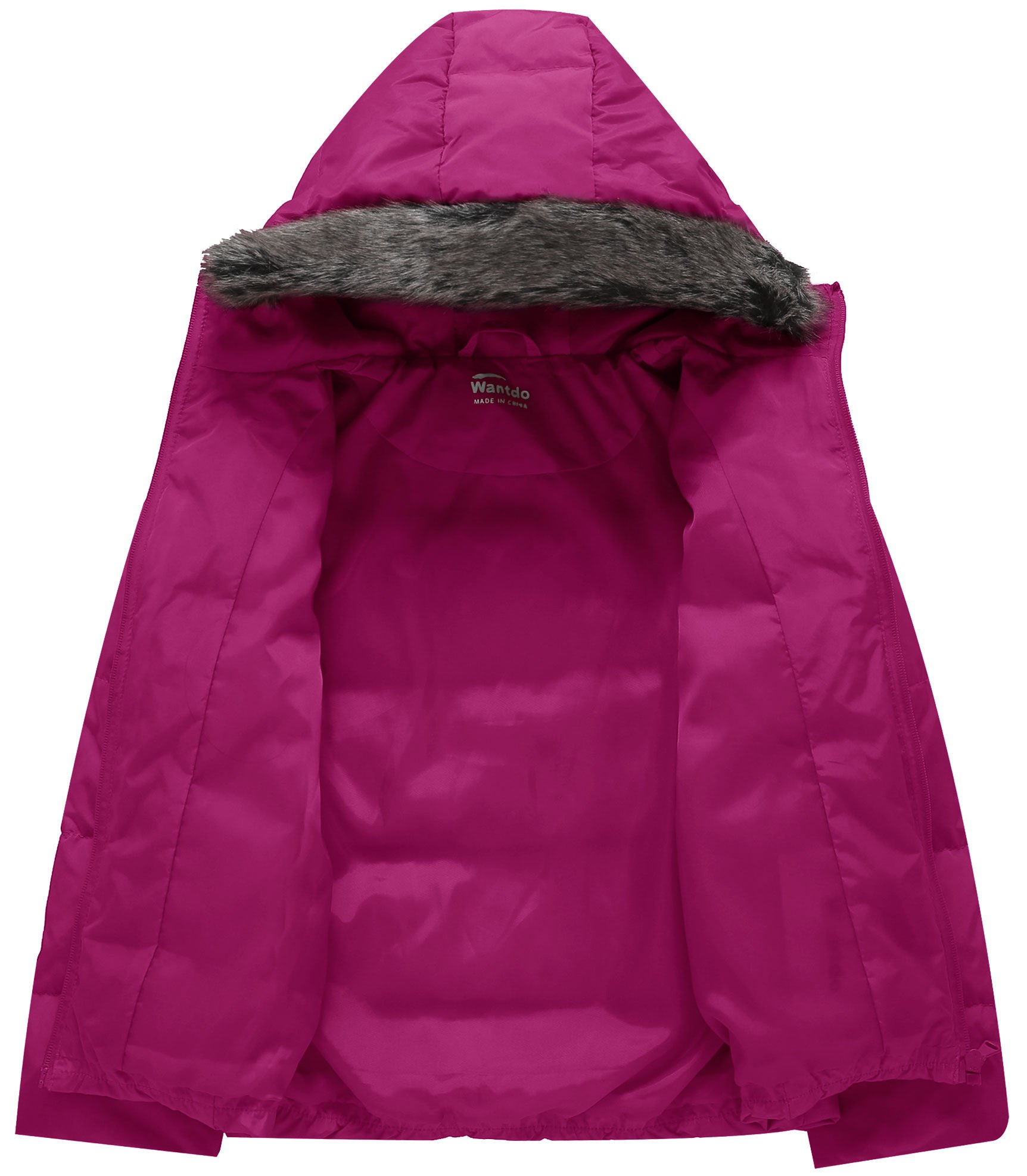 Wantdo Girl's Ultra Light Down Jacket Windproof Hoodies Outwear Short Parka for Camping(Rose Red, 4/5) by Wantdo (Image #3)