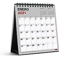 MIQUELRIUS - Calendario de Sobremesa 2021 Básico - Catalán, 140 x 150 mm con espacio para escribir y apuntar, Color Gris