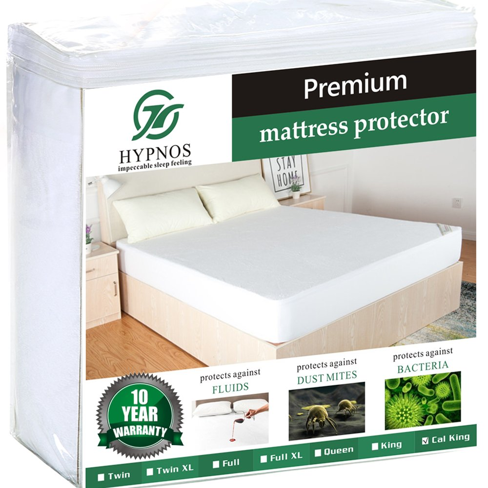 HYPNOS Queen Size Mattress Pad Protector - Premium Waterproof & Hypoallergenic Cover - Vinyl Free, Terry Cotton Topper