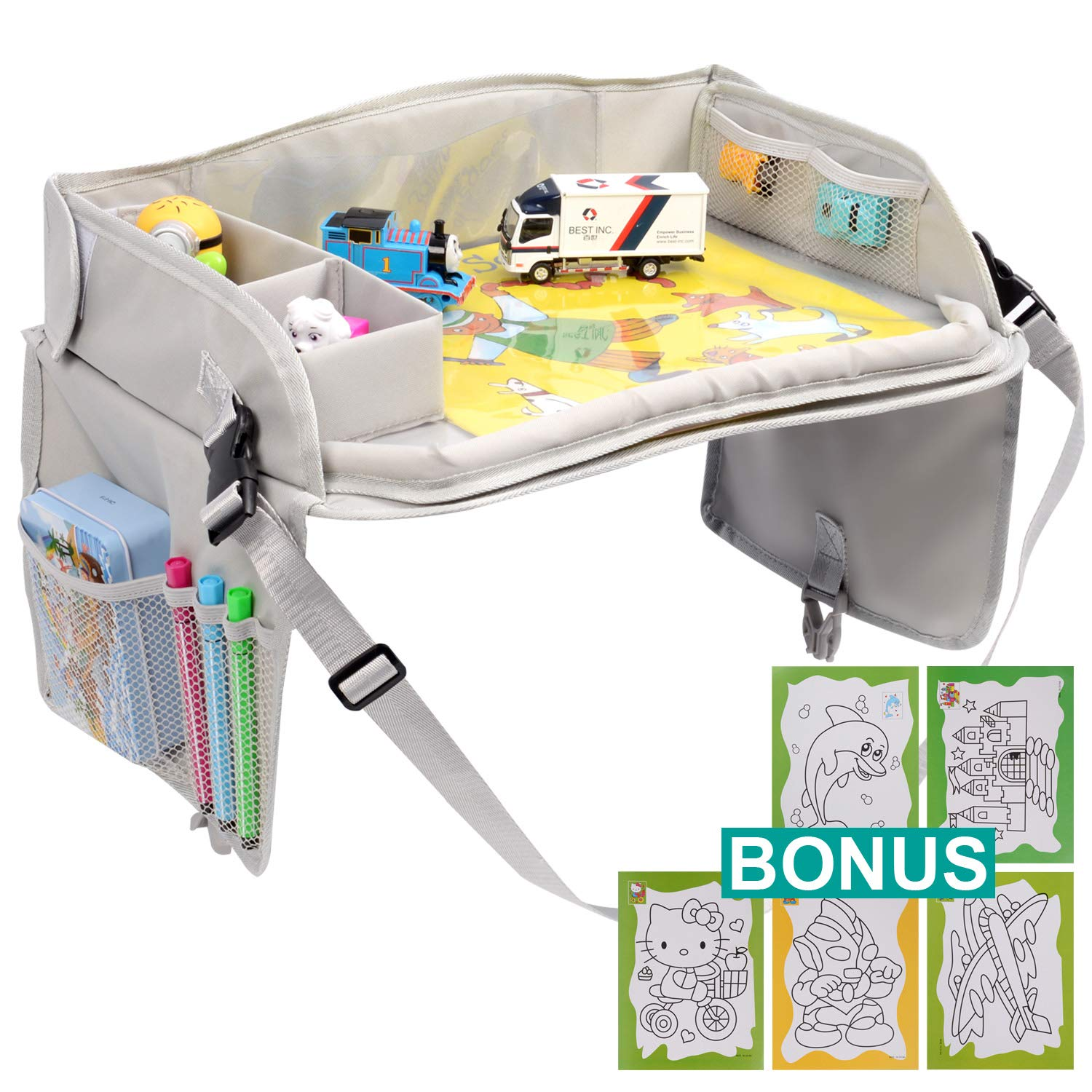 YOUMILE Car Kids Travel Lap Tray, Children Car Seat Activity Snack and Toddler Car Tray with PVC Erasable Surface, iPad & Tablet Holder, Detachable Organizers for Cars, Airplanes & Baby Stroller by YOUMILE
