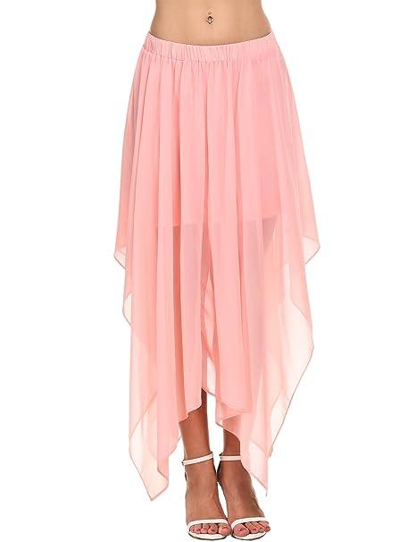 d903233853db Zeagoo Women Summer Beach Chiffon High Waist Pleated Maxi Skirt,Pastel Pink ,S