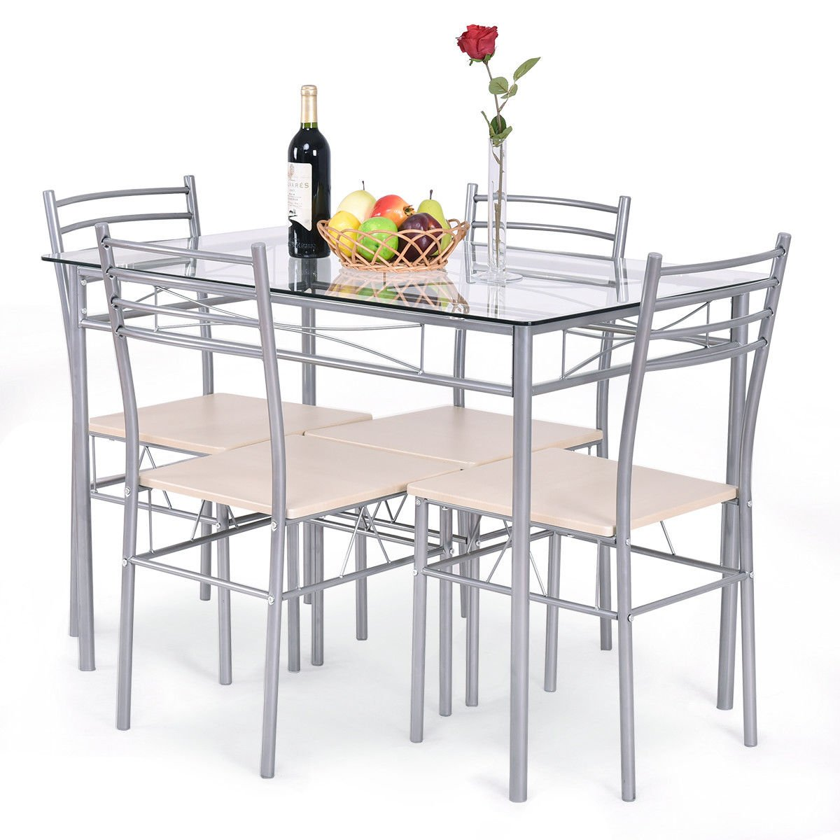 Giantex 5 Piece Dining Set Table and 4 Chairs Glass Top Kitchen Breakfast Furniture HW54039