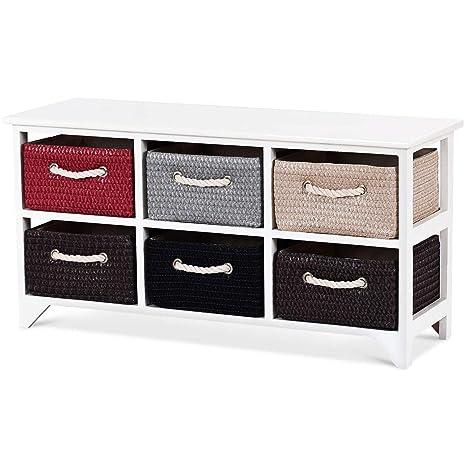 Amazon.com: LordBee - Cesta de madera blanca con 6 cestas de ...