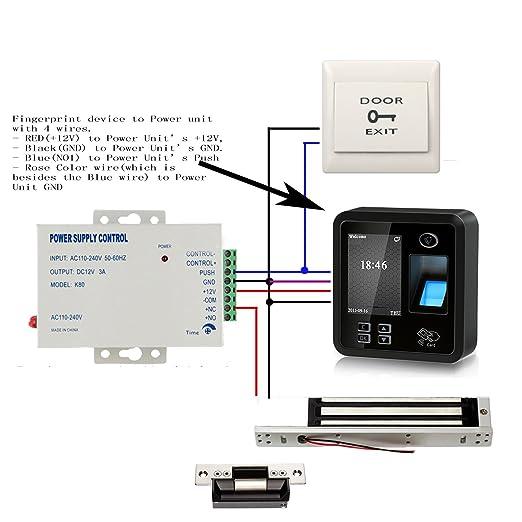 Amazon.com : Biometric Fingerprint & RFID Kits de control de acceso Smart Keyless System 600LBS Electromagnética 110V Unidad de potencia en el sensor de ...