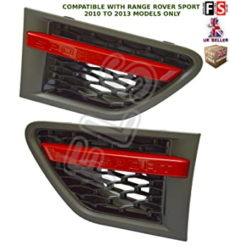 Range Rover Sport Rejillas Ventilación Lateral - gris negro rojo de entrada de aire para uso en Range Rover Sport 2010 - 2013: Amazon.es: Coche y moto