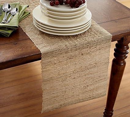 Superieur Melaya Woven Nubby Rectangular Table Runner, 100% Ramie, 14u0026quot;x90u0026quot;,
