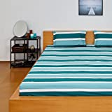 Solimo Silk Finish Nautical Stripe 180 TC 100% Cotton Double Bedsheet with 2  Pillow Covers - Green