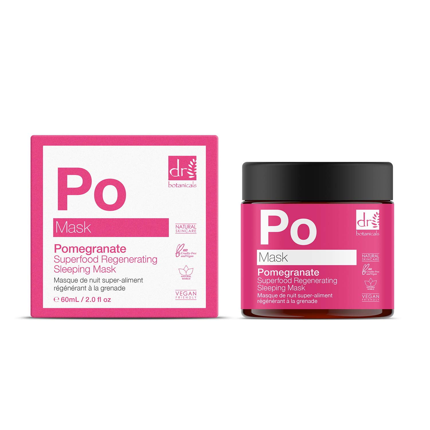 Dr Botanicals Natural Skincare Pomegranate Superfood Regenerating & Hydrating Sleeping Facial Mask to hydrate, nourish and revive your skin 60ml/2.02 Fl Oz