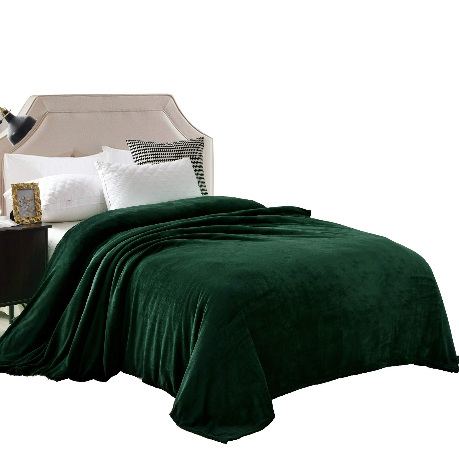 """Exclusivo Mezcla Velvet Flannel Fleece Plush Queen Size Bed Blanket as Bedspread/Coverlet/Bed Cover (90"""" x 90"""", Forest Green) - Soft, Lightweight, Warm and Cozy"""