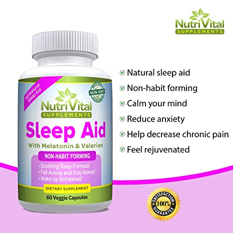 Amazon.com: Sleep Aid by NutriVital Supplements, All Natural Sleep Aid, With Melatonin, Valerian, Chamomile & More, Non-Habit Forming, Made in the USA, ...