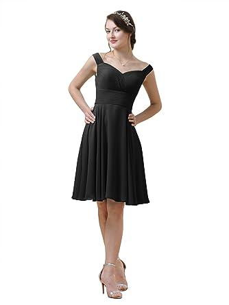 67153258ce Alicepub Short Chiffon Bridesmaid Dress A-Line Party Prom Gown Cocktail  Dress Straps
