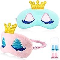 2 Stück Schlafmaske Krone Süß Krone Augenbinde Krone Weich Plüsch Augenbinde Augenabdeckung Nacht Schlafmaske für Damen Mädchen mit Ohrstöpsel (Blau und Rosa Krone)