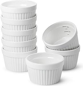 BTäT- Ramekins, Set of 8, Ramekins for Baking, Ramekins 4 oz, Ramekin with Measurement Markings, Porcelain, Creme Brulee Dishes, Souffle Cups, Custard Cups, Bakeware, Souffle Dish, Small Ceramic Bowl