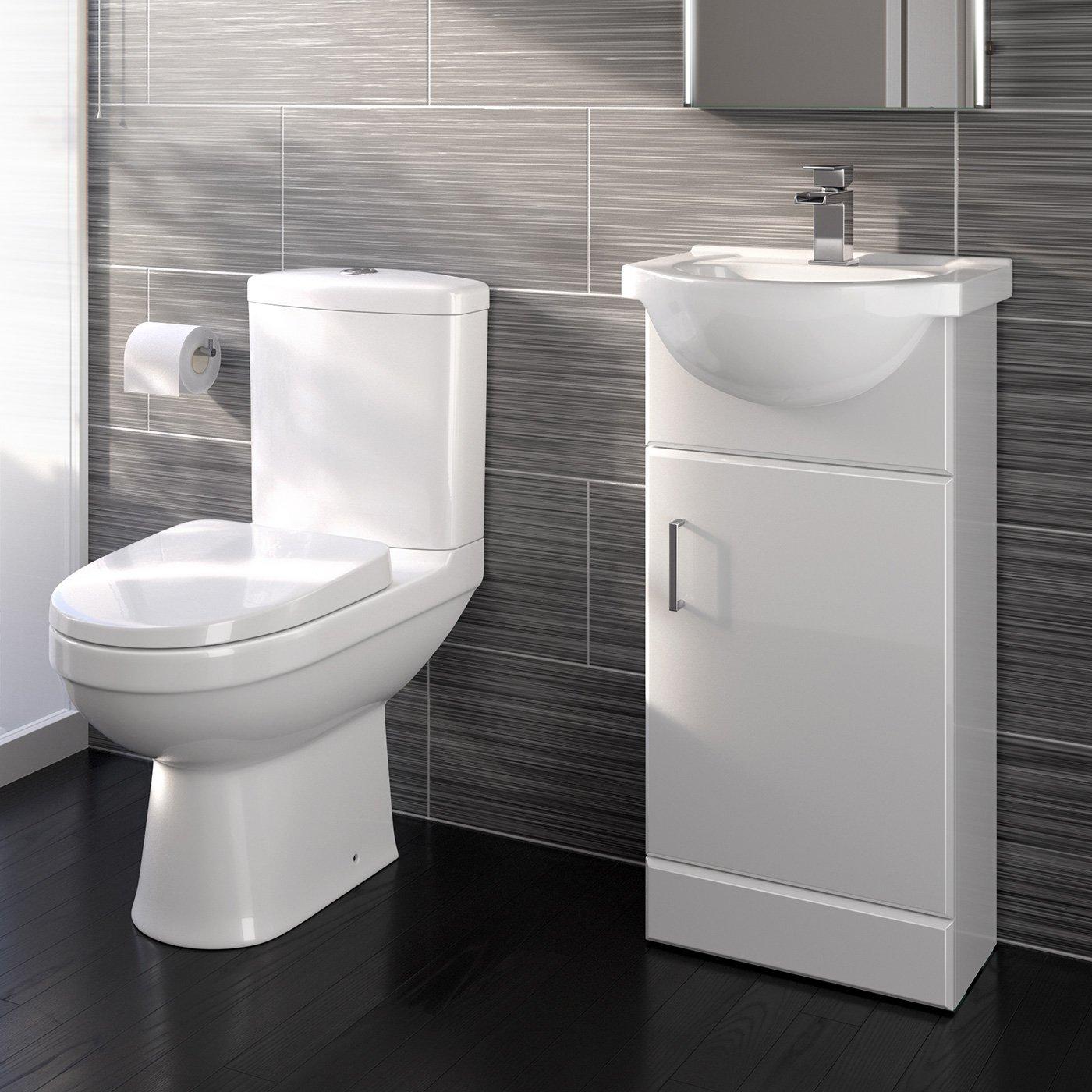 Modern Close Coupled Toilet Bathroom Vanity Storage Unit Basin Cloakroom Set iBathUK