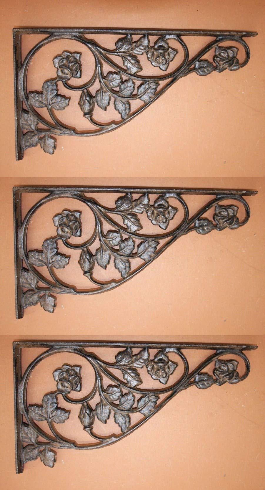 Southern Metal Set of 3 Extra Large Cast Iron Patio Corbels 16 7/8'' Rose Design, B-20