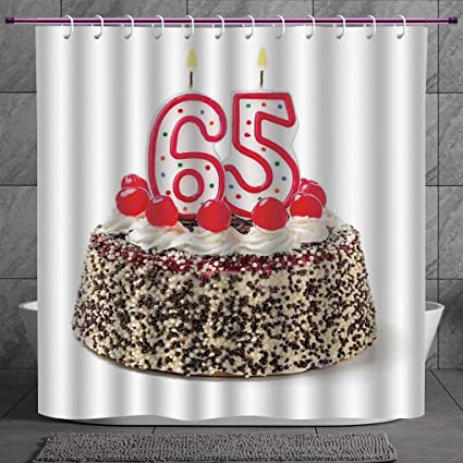 Durable Shower Curtain 20 65th Birthday DecorationsBurning Candles Number Sixty Five On Delicious