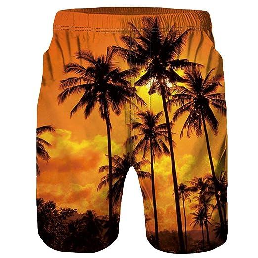 601620a52c63c Allywit Men's Swim Trunks Coconut Tree Printing Quick Dry Beach Board  Shorts Swimwear | Amazon.com