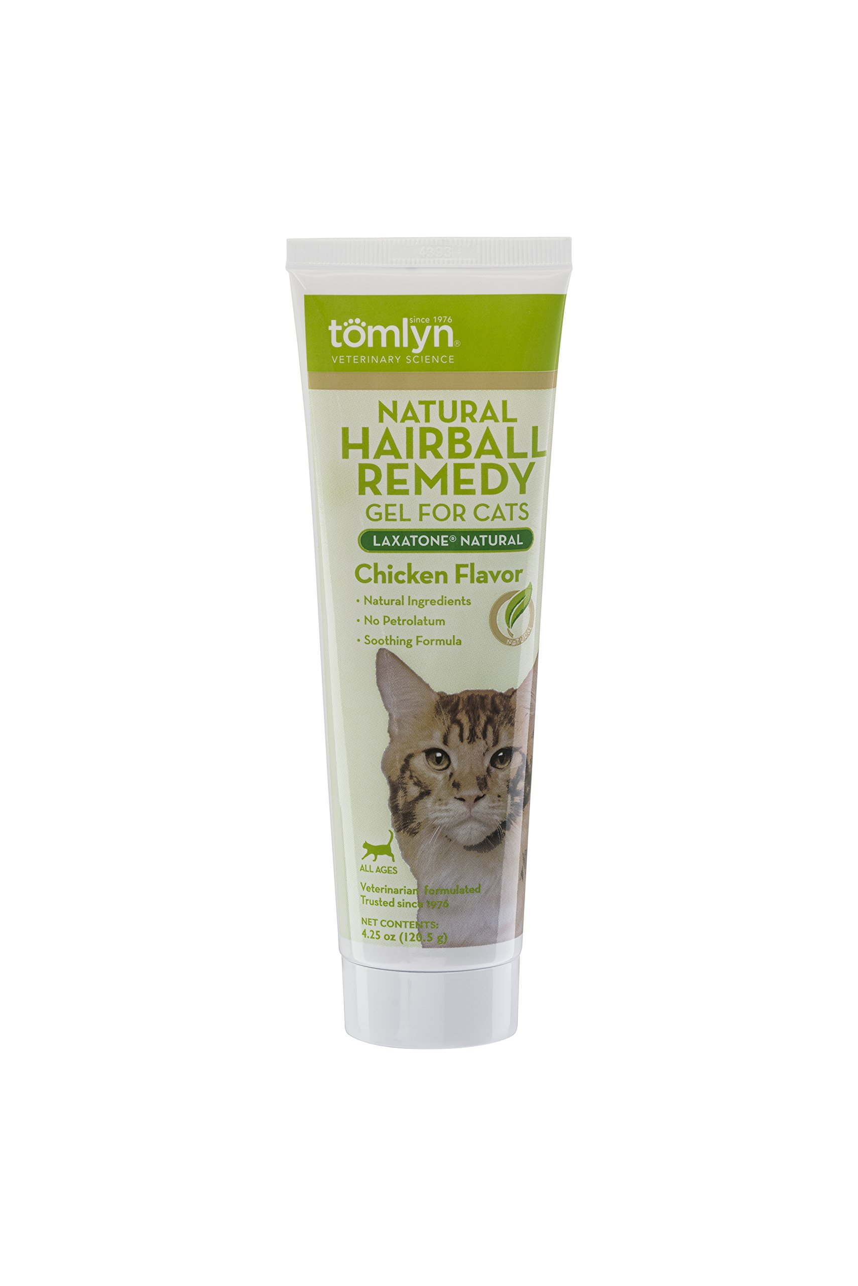 Tomlyn Natural Hairball Remedy Gel for Cats, Chicken Flavor, (LaxatoneNatural) 4.25 oz
