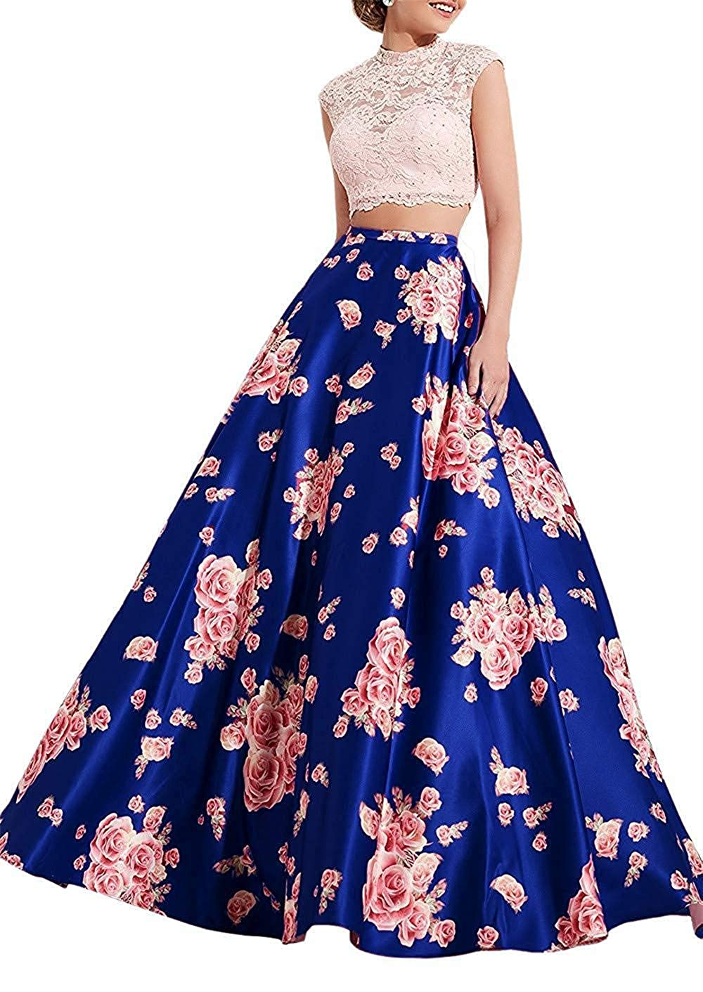 Royal bluee Sophie Women's Floral 2 Piece Prom Dresses 2019 Long High Neck Satin Evening Ball Gown S295