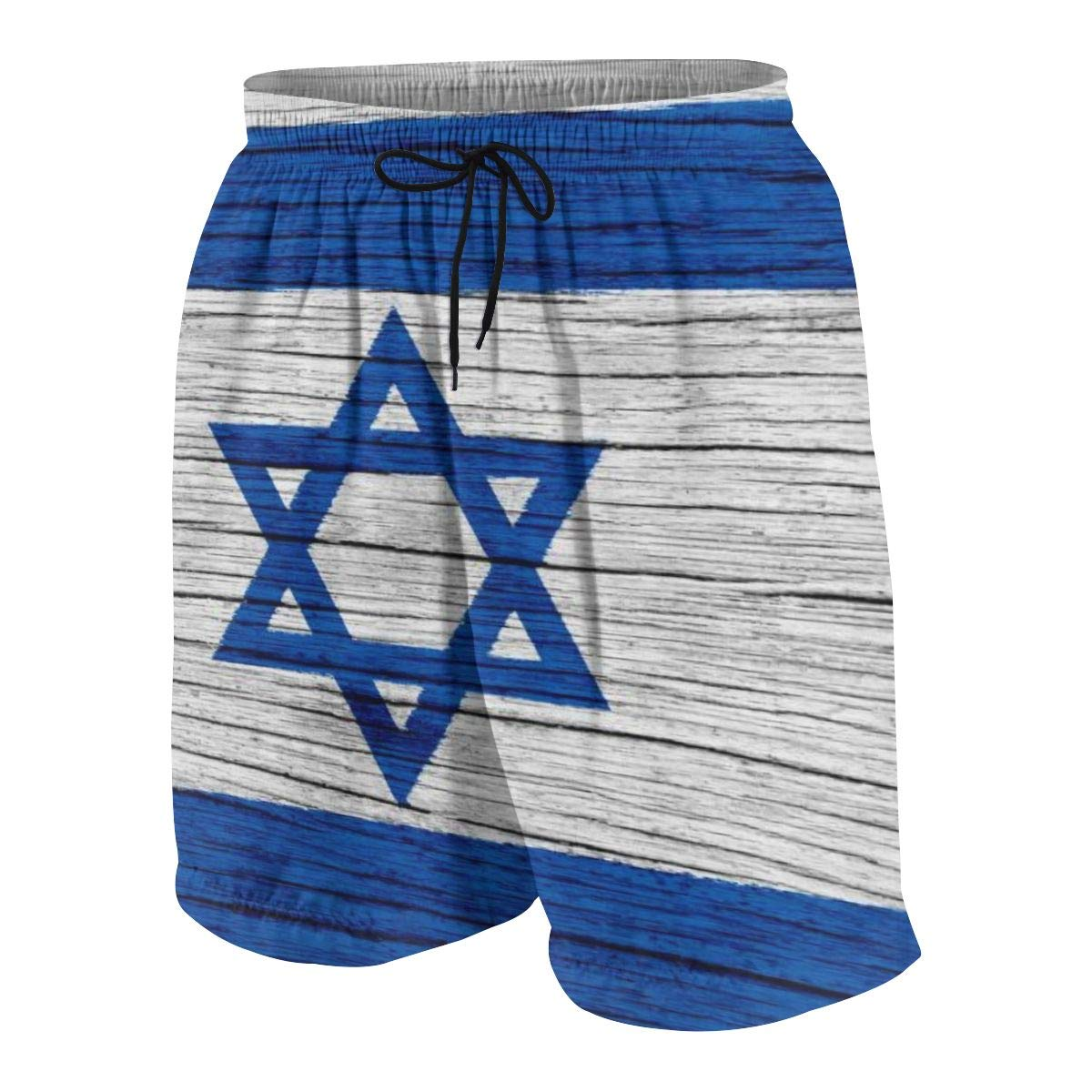 HFSST Israel Wooden Texture Israeli Flag Teen Swim Trunks Bathing Suit Shorts Board Beach