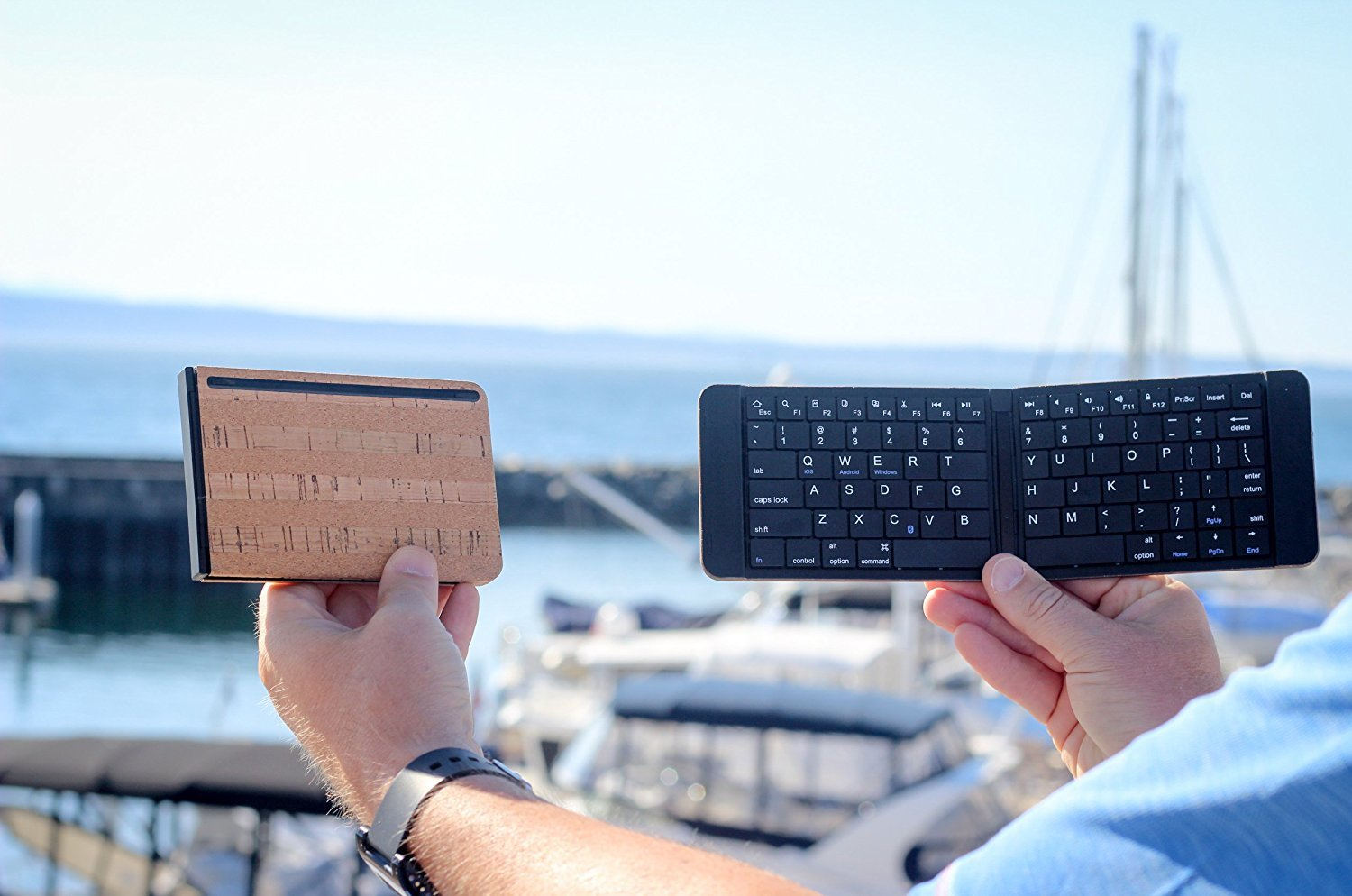 Foldable Bluetooth Keyboard by Reveal Shop - Natural Cork Leather Exterior - for iPhone, iPad, Android devices, Windows tablet, PC & MAC Computers - 30 hour battery life (Cork) by Reveal (Image #5)