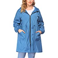 IN'VOLAND Women Outdoor Windbreaker Plus Size Hooded Jacket for Travel 2 Pockets Knee Length