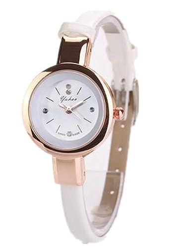 Relojes Mujer,Longra Elegante Reloj de Pulsera Reloj Redondo Cuero Imitación (21CM, Blanco
