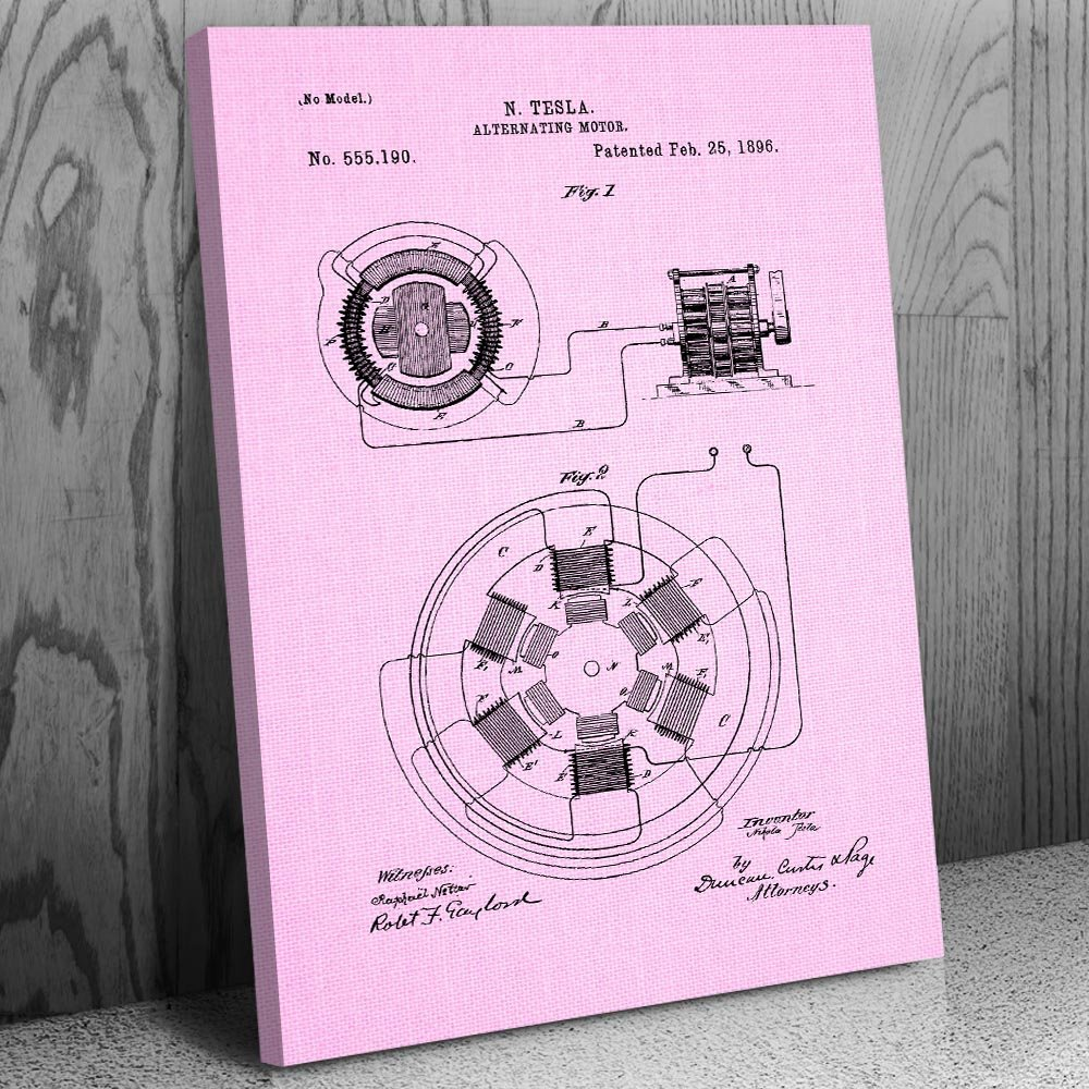 Tesla Alternating Motor Canvas Patent Art Print Brushed Design Diagram Pics Steel 18 X 24 Posters Prints