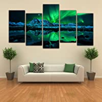 Modern Canvas Prints Aurora Polaris 5 Panel Northern Lights Wall Art Painting for Living Room Home Decor Pictures…