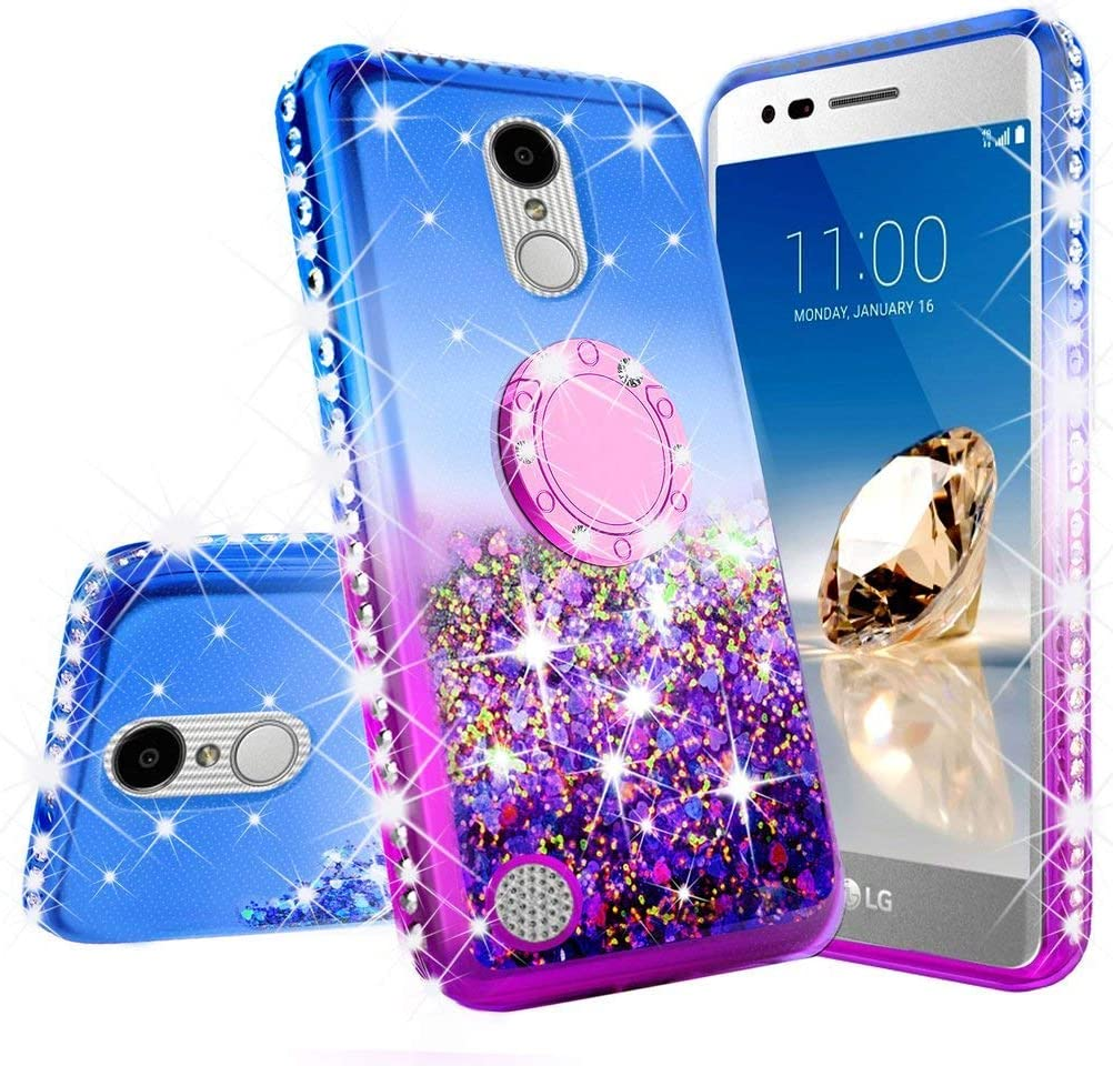 Customerfirst for LG Tribute Empire/Rebel 4/ Risio 3/ Fortune 2/ Phoneix 3/ Aristo 3 Cute Girls Motion Liquid Glitter Bling Sparkle Protective Soft Shockproof TPU Womens Ring Stand Bumper Case (Blue)