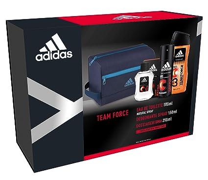 4c3f0ae09849 Adidas - Confezione Regalo Team Force: Profumo Uomo 100 ml, Bagnoschiuma 250  ml, Deodorante 24H 150 ml e Beauty Case Uomo: Amazon.it: Bellezza