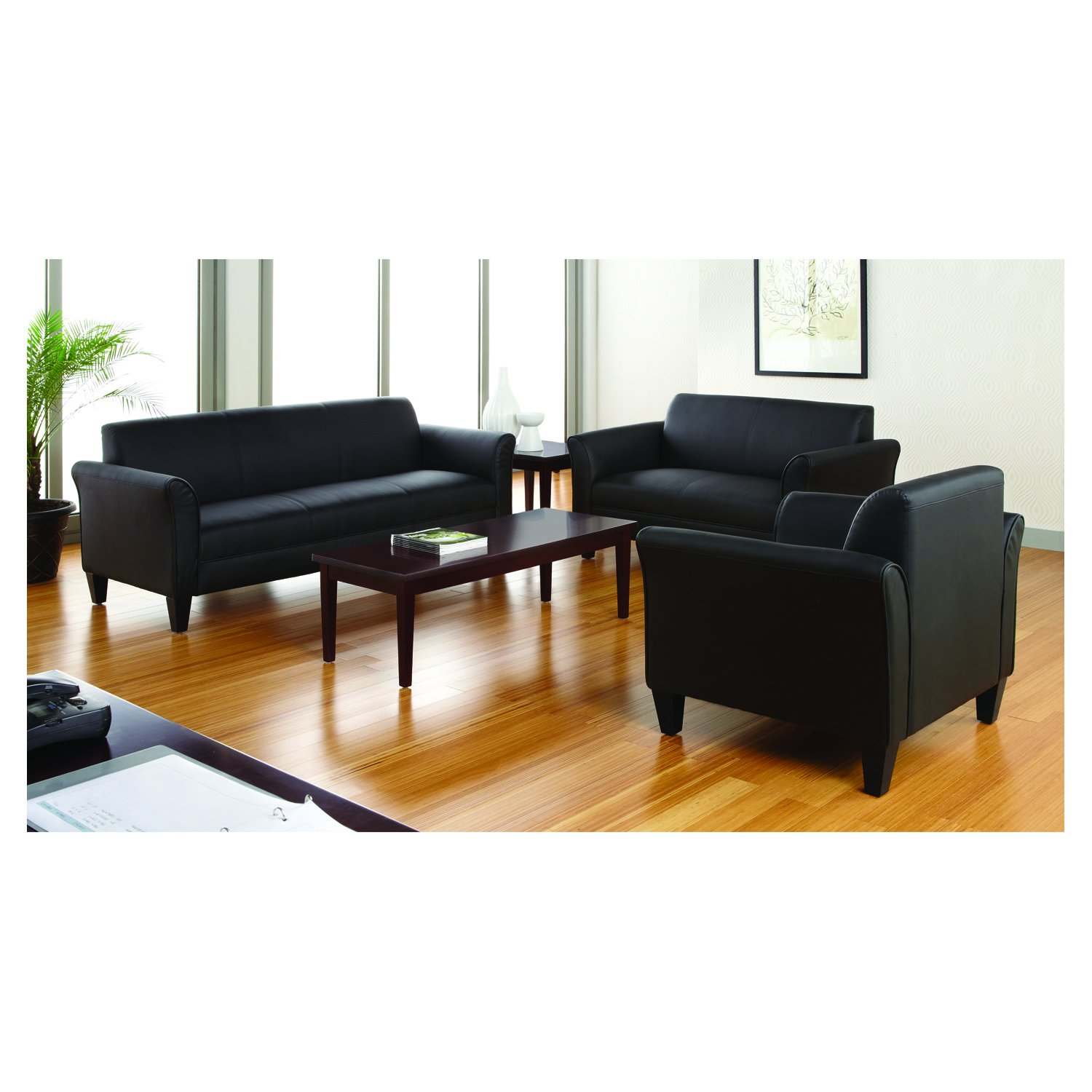 Alera Reception Lounge Series Club Chair, Black Leather