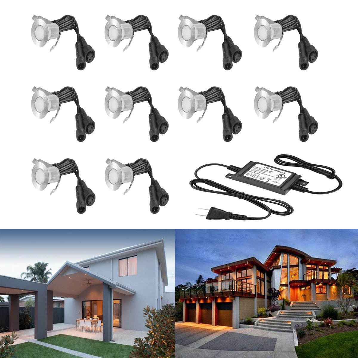 10 Pack Low Voltage LED Deck Lights Φ0.7 Outdoor Garden Yard Step Pathway Decor Lighting LED In-ground Lamp Stainless Steel SMD2835 (Warm White)