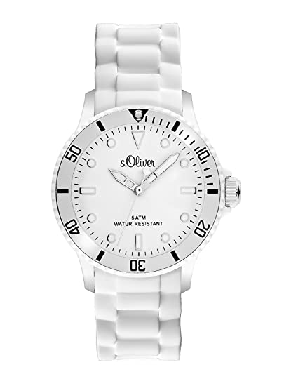 hot sale online 5d58b 2d111 s.Oliver Unisex-Armbanduhr Medium Size Analog Silikon weiß SO-2291-PQ
