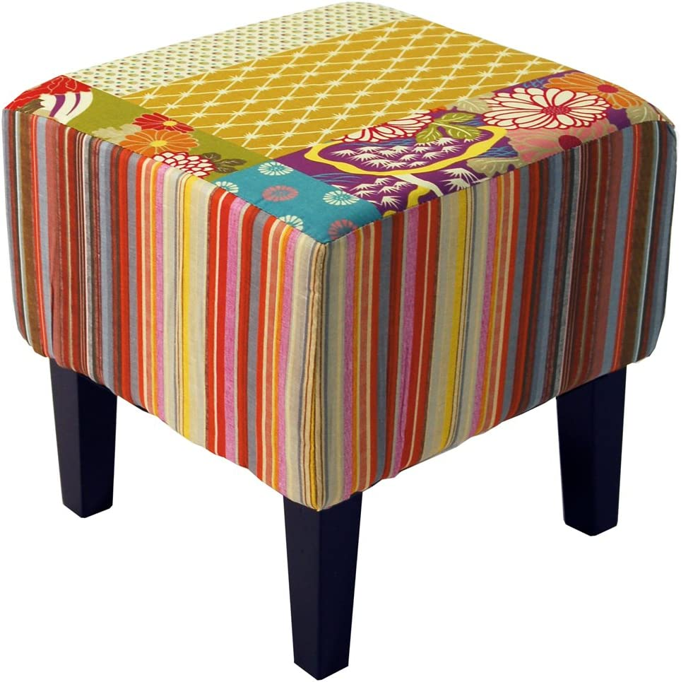 Pouf Tabouret Shabby Chic Patchwork Multicolore