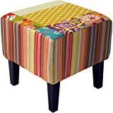 PATCHWORK - Pouf tabouret Shabby Chic - Multicolore
