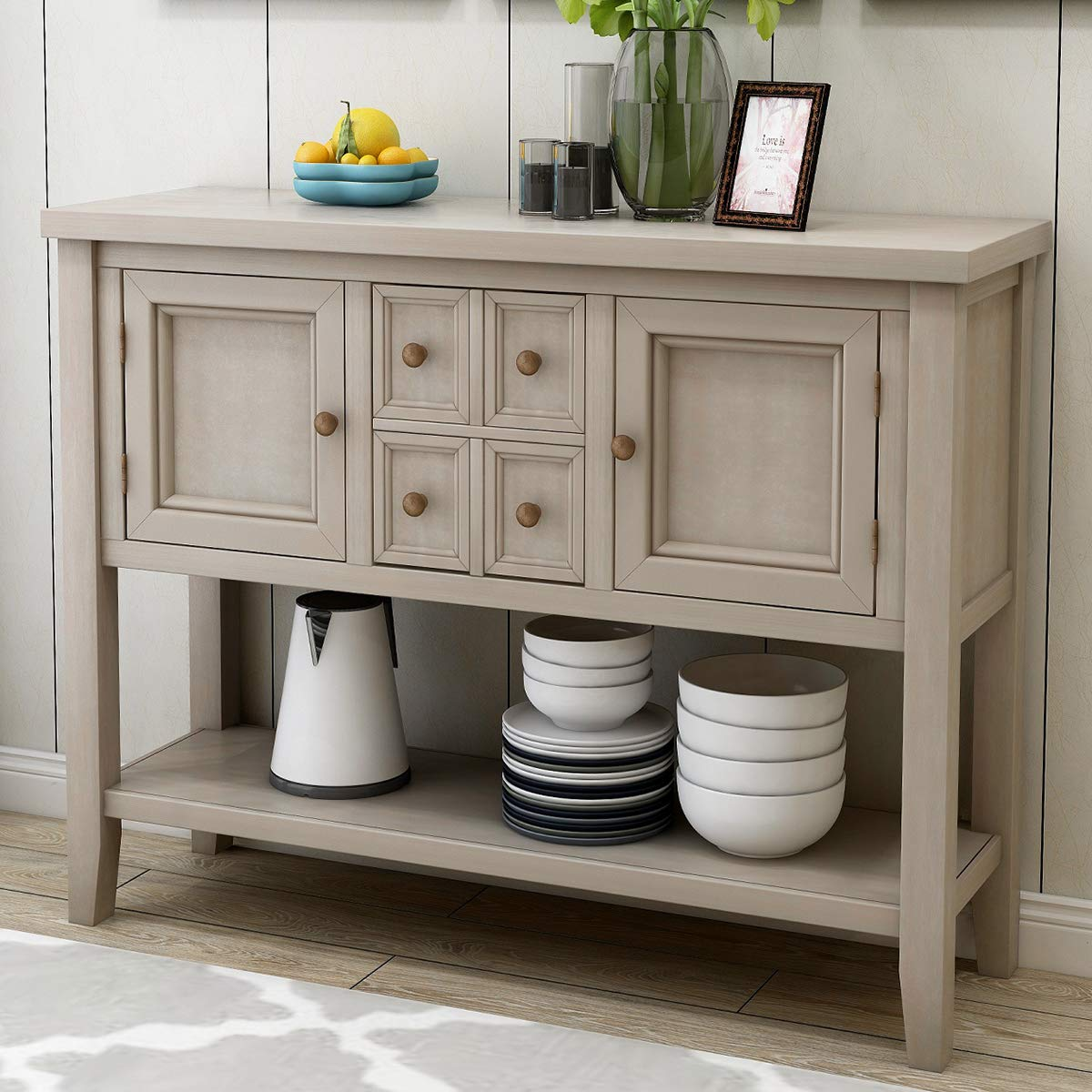 Console Table, Buffet Table Sideboard with Four Storage Drawers and Two Cabinets and Bottom Shelf (Ship from USA Warehouse) by SILAMI