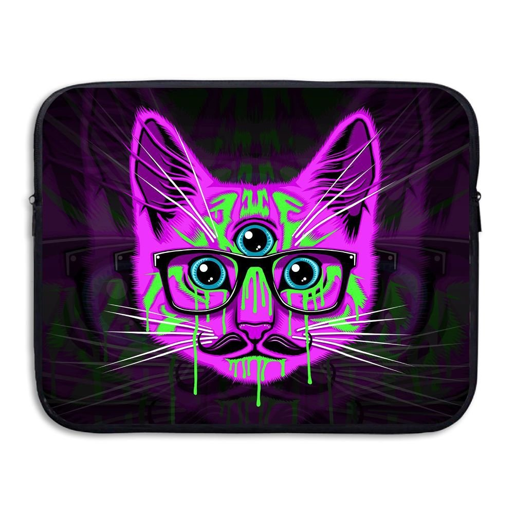 Mr.Roadman Laptop Sleeve Bag Lovely Pink Cat With Glasses Briefcase Sleeve Bags Cover Computer Liner Case Waterproof Computer Portable Bags