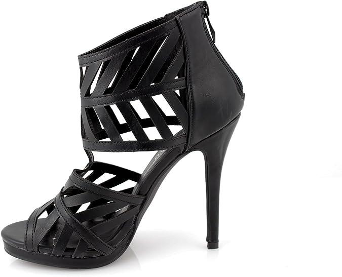 sandali donna alti spuntati tronchetti intarsi ecopelle nero tacco alto 12