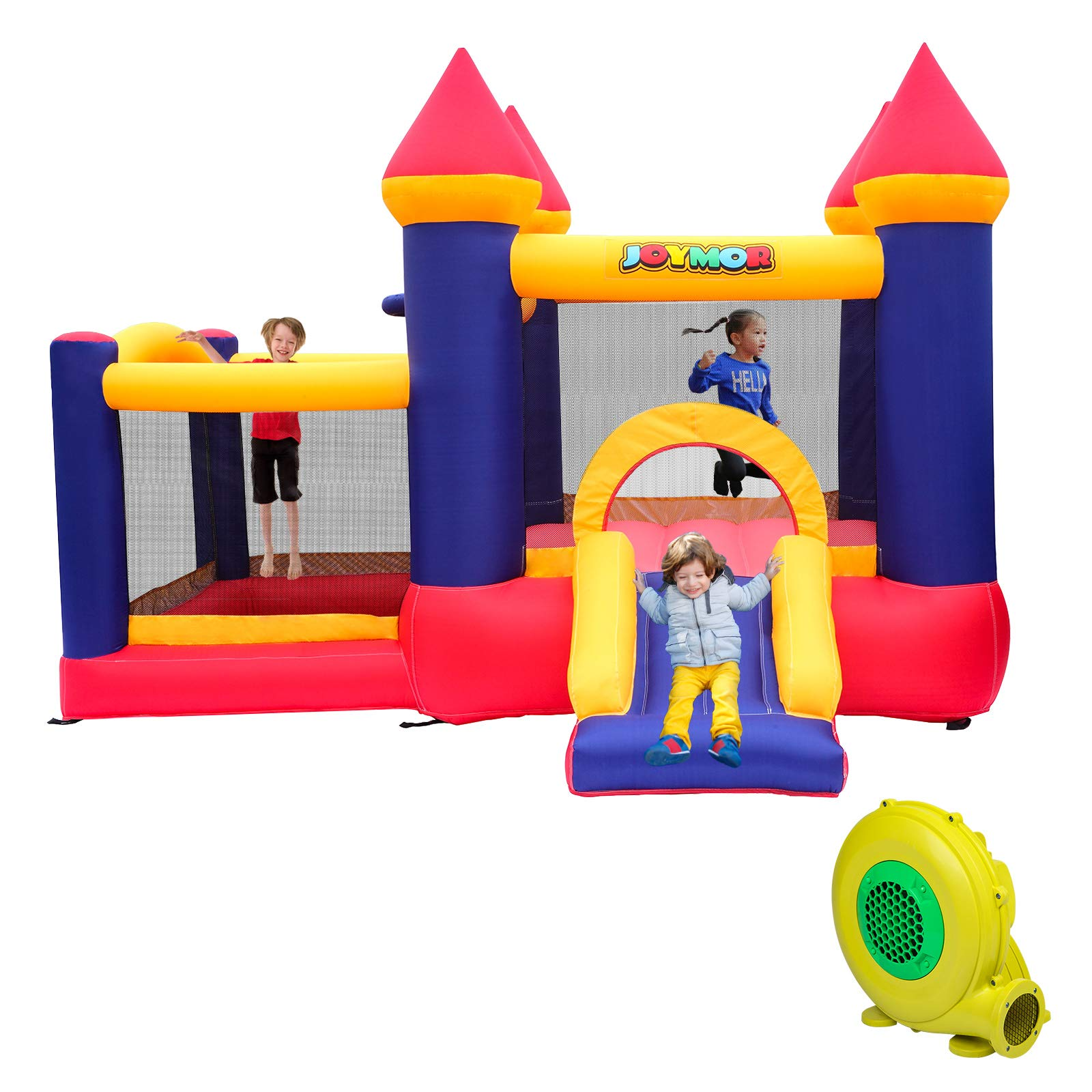 JOYMOR Bounce House Little Kids Inflatable Bouncing Castle Play Center w/ Air Blower Pump, Slide Bouncer (10' x 9')